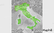 Political Shades Map of Italy, desaturated