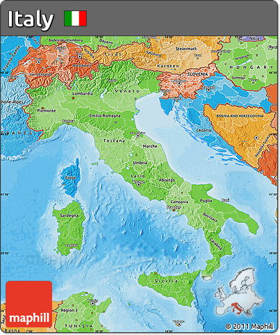 Political Shades Map of Italy