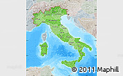 Political Shades Map of Italy, lighten, semi-desaturated, land only