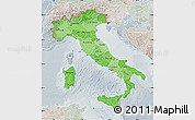 Political Shades Map of Italy, lighten, semi-desaturated
