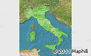 Political Shades Map of Italy, satellite outside