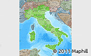 Political Shades Map of Italy, semi-desaturated, land only