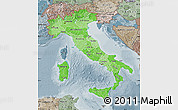 Political Shades Map of Italy, semi-desaturated