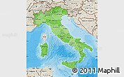 Political Shades Map of Italy, shaded relief outside, bathymetry sea