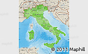 Political Shades Map of Italy, shaded relief outside