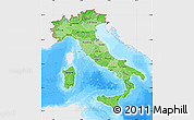 Political Shades Map of Italy, single color outside, bathymetry sea