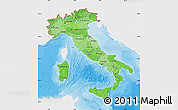 Political Shades Map of Italy, single color outside