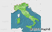 Political Shades Map of Italy, single color outside, satellite sea