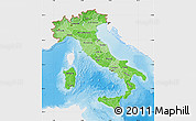 Political Shades Map of Italy, single color outside, shaded relief sea
