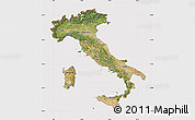 Satellite Map of Italy, cropped outside