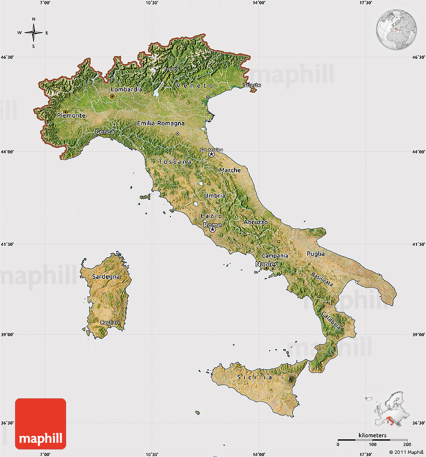 Satellite Map of Italy cropped outside