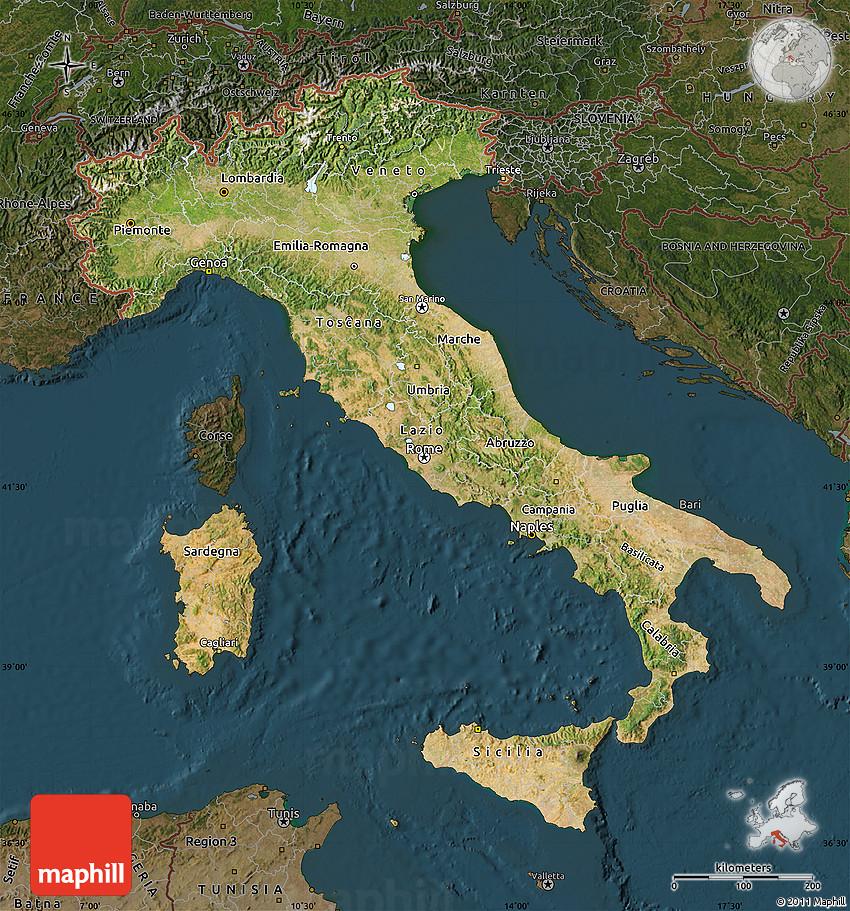 satellite map of italy Satellite Map Of Italy Darken