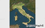 Satellite Map of Italy, darken