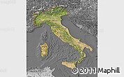 Satellite Map of Italy, desaturated