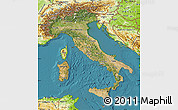 Satellite Map of Italy, physical outside, satellite sea