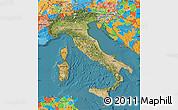 Satellite Map of Italy, political outside, satellite sea