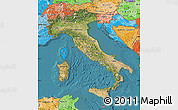 Satellite Map of Italy, political shades outside, satellite sea