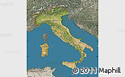 Satellite Map of Italy, semi-desaturated, land only