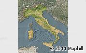 Satellite Map of Italy, semi-desaturated