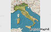 Satellite Map of Italy, shaded relief outside, satellite sea