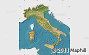 Satellite Map of Italy, single color outside
