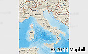 Shaded Relief Map of Italy