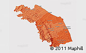 Political Shades 3D Map of Marche, cropped outside