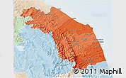 Political Shades 3D Map of Marche, lighten