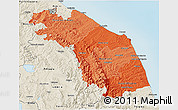 Political Shades 3D Map of Marche, shaded relief outside