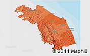 Political Shades 3D Map of Marche, single color outside