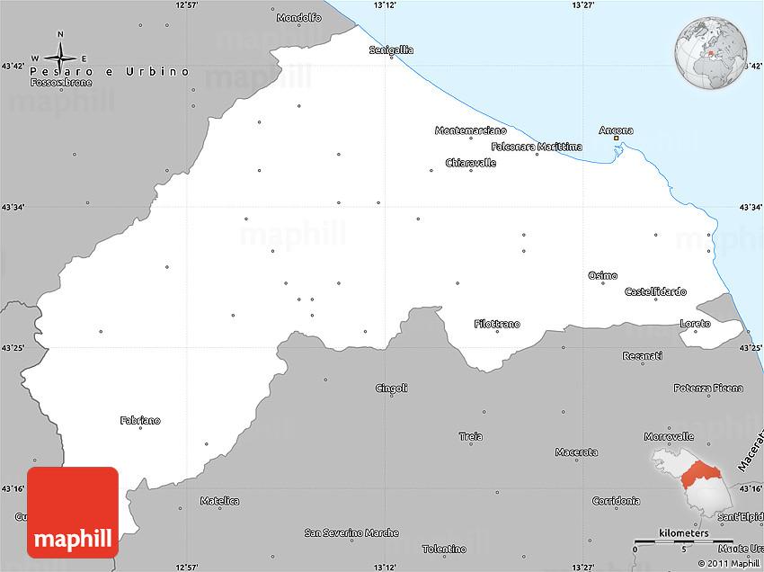 Gray Simple Map Of Ancona - Map of ancona italy