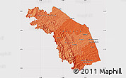 Political Shades Map of Marche, cropped outside