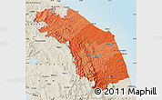 Political Shades Map of Marche, shaded relief outside