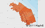 Political Shades Map of Marche, single color outside