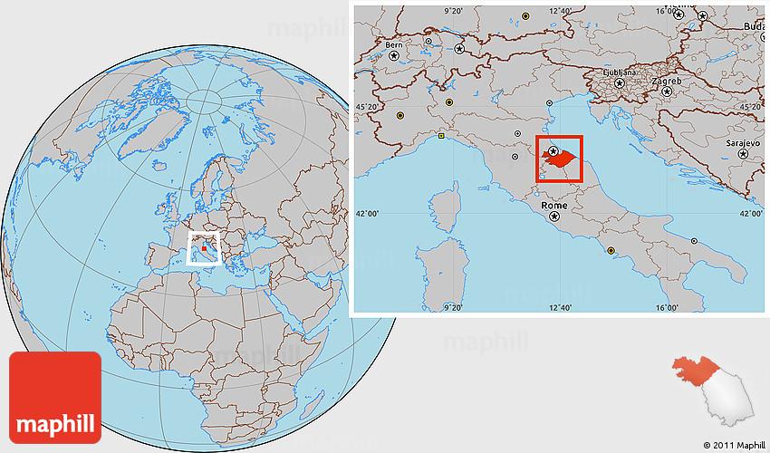 Gray Location Map Of Pesaro E Urbino