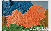 Political Shades 3D Map of Molise, darken