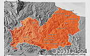 Political Shades 3D Map of Molise, desaturated