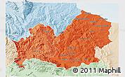 Political Shades 3D Map of Molise, lighten