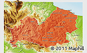 Political Shades 3D Map of Molise, physical outside