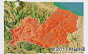 Political Shades 3D Map of Molise, satellite outside