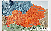 Political Shades 3D Map of Molise, semi-desaturated