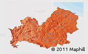 Political Shades 3D Map of Molise, single color outside