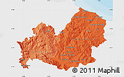 Political Shades Map of Molise, single color outside
