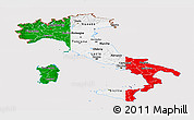 Flag Panoramic Map of Italy