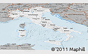 Gray Panoramic Map of Italy