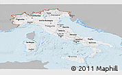 Gray Panoramic Map of Italy, single color outside