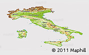 Physical Panoramic Map of Italy, cropped outside