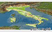 Physical Panoramic Map of Italy, darken