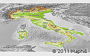 Physical Panoramic Map of Italy, desaturated