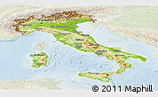 Physical Panoramic Map of Italy, lighten